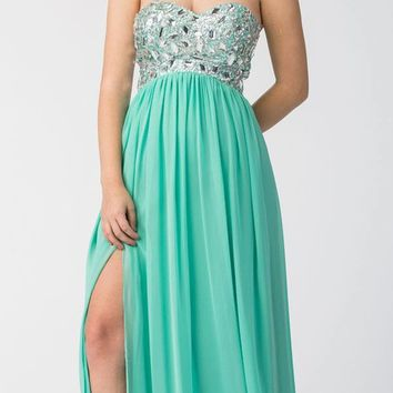 Layered Strapless Laced Bodice Long Mint Prom Dress