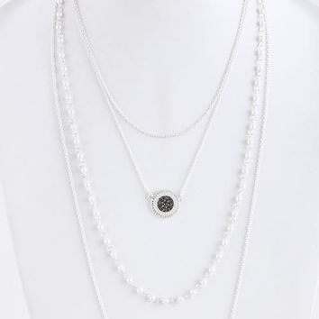 Filigree Disk Pearl Ball Link Layer Necklace