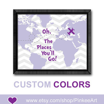 inspirational nursery wall saying oh the places nursery oh the place you'll go map dr seuss quotes kids baby girl nursery girls room decor