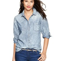 Gap Women 1969 Marble Wash Chambray Shirt Size XL - acid wash
