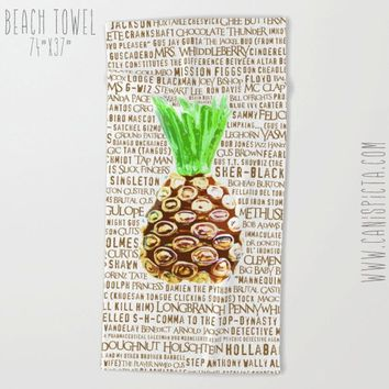 Psych Towel Pineapple Bath Beach Funny Terry Hand Bathroom Decor Gift Unique Fandom TV Show Fan Art Television Gus Quote Shawn Neon Neutral