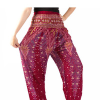 peacock pants Bangkok pants elastic waist bohemian pants /hippie clothes Yoga pants/elephant thai pants/Harem pants/boho pants/gypsy pants
