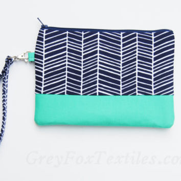 Midnight blue chevron Wristlet / Clutch / Cosmetic Case in Navy Blue and Jade / Aqua / Green