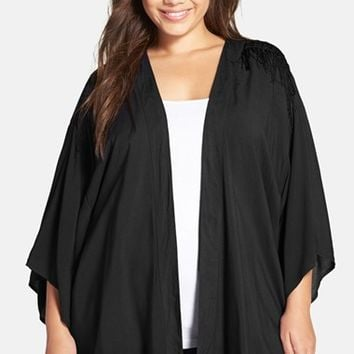 Plus Size Women's Forgotten Grace Fringe Trim Challis Open Front Cardigan,