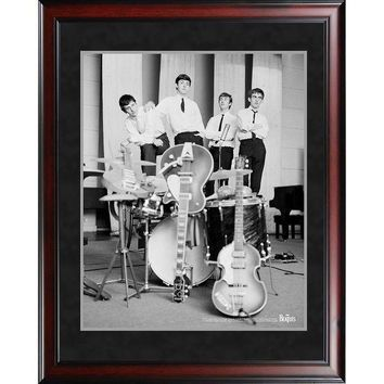 NOVO5 The Beatles 1962 Black and White Pose With Instruments 8x10 Framed Photo