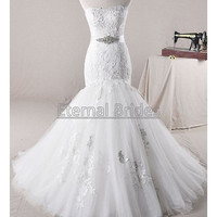 Strapless Tulle with Chic Applique Mermaid Wedding Dress Chapel Train with Belt/Sash