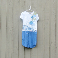 Women's Medium Altered, Upcycled t-shirt men's shirt dress on various blues, shirt carribbean joe
