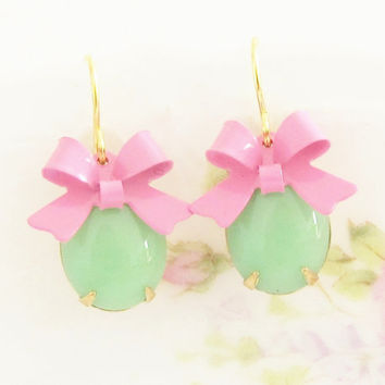 Pink and Green Bow Earrings - Vintage Green Glass Jewels and Bright Pink Bow Dangle Earrings - Wedding, Bridal, Bridesmaid, Preppy