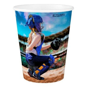 Softball Catcher And Stadium Painting Paper Cup