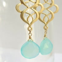 Samara   ...matte gold eastern pendant and aqua chalcedony drop earrings.