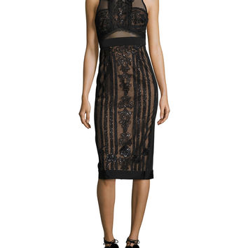 Marchesa Notte Sleeveless Embellished Semisheer Sheath Cocktail Dress, Black