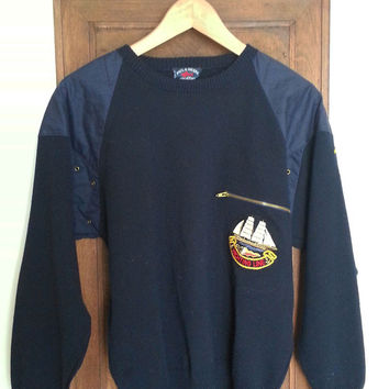 Reduced Paul & Shark Boyfriend Preppy Navy Merino Wool Yachting Sweater   Made In Italy (Small/Indie Brands)