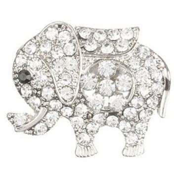 Clear Pave Crystal Stone Metal Elephant Pin And Brooch