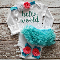 Ready to Ship Baby Girl Take Home Outfit Newborn Baby Girl Hello World Onesuit Aqua Bloomers Coral & White Headband Set Lola Bean Clothing