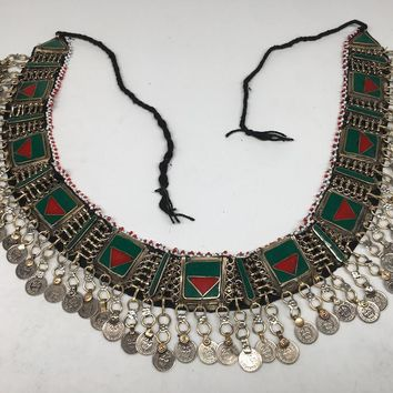 "Vintage Afghan Kuchi Tribal ATS Statement Coins Red Green Inlay Belt 54"",KB21"