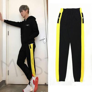 Side Yellow Stripe Men Casual Black Jogger Pants New 2017 Contrast Color Design KPOP Mens Sweatpants Joggers Free Shipping