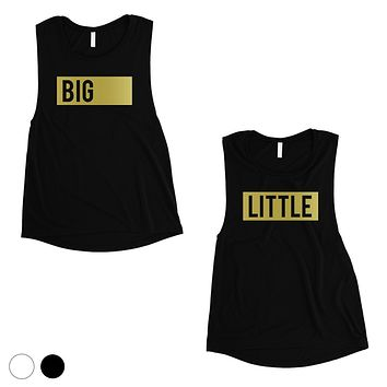 Big Little Boxed-GOLD Womens Muscle Tank Top Single Quote Sorority