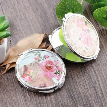 Portable Folding Compact Round Makeup Cosmetic Pocket Mirror Random Pattern Metal Frame+Silver Mirror