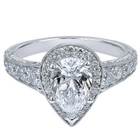 "Ben Garelick Royal Celebrations ""Aria"" Pear Cut Diamond Halo Engagement Ring"