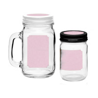 Pastel Pink Dashleigh Printable Blank Mason Jar and Lid Labels for 40 Total Mason Jars