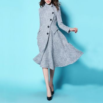 2017 Autumn Winter Vintage Plaid Wool Coat Womens Turn-down Collar Single Breasted Woolen Trench Jacket Overcoat Slim Tweed Coat