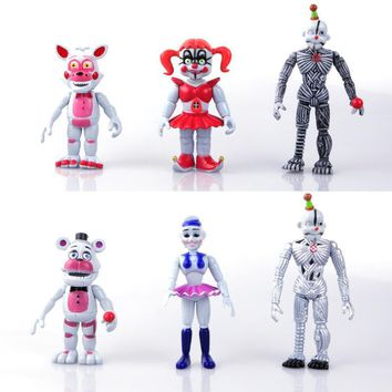 6Pcs/Set  At   Bonnie Freddy Action Cartoon Toy For Kids Christmas Gift 9.5-13cm