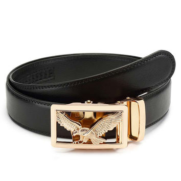 Men's Leather Belt With Eagle Buckle