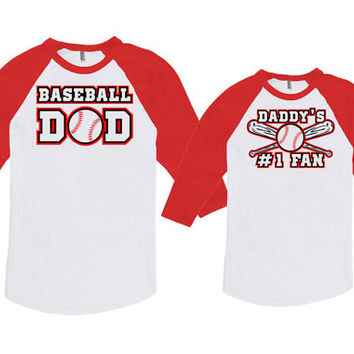 Matching Father And Baby Father Son Shirt Daddy Daughter Gift Baseball Dad Daddy's #1 Fan Bodysuit American Apparel Unisex Raglan MAT718-719