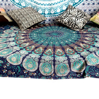 Twin Blue peacock feather medallion Indian Mandala Tapestry bedsheet dorm decor bedspread