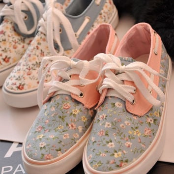 Sweet Floral Canvas Boat Shoes Sneaker Flats