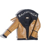 Balenciaga The Bombardier - BLUE NAVY/CARAMEL - Women's Jacket