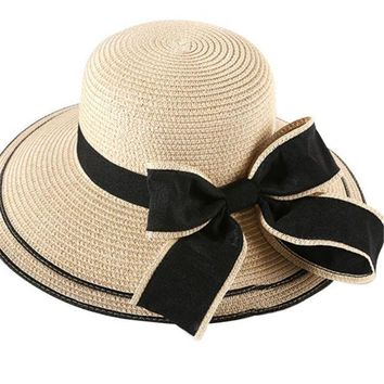 PEAP78W 2017 New arrival Fashion Women Caps Summer Beach Sun Lady Women Straw Hat Floppy Wide Brim Bowknot Casual Cap