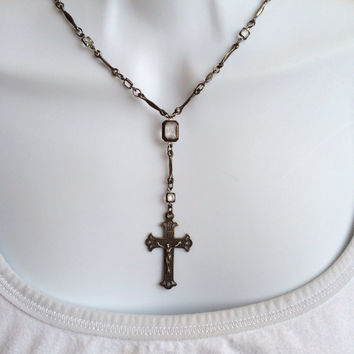 Vintage Gunmetal Necklace with Crucifix