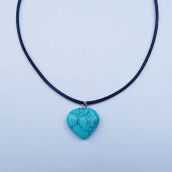 Turquoise Heart Choker, Turquoise Choker, Turquoise Choker Necklace, Turquoise Necklace, Heart Choker, Gemstone Necklace, Crystal Necklace