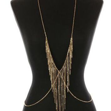 Body Chain Metal Chain Fringe Necklace And Layered 36 Inch Long 7 1/5 Inch Drop