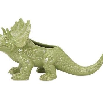 Dinosaur Green Ceramic Planter