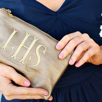 Monogrammed Clutch Bag- Multiple Colors