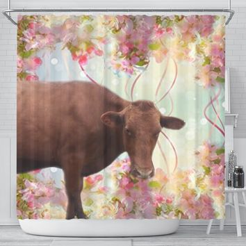 Danish Red cattle (Cow) Print Shower Curtain-Free Shipping