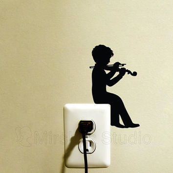Boy Playing Violin Light Switch Fabric Wall Sticker - Music Wall Decal - Boys Room Decor - Music Wall Art - Gift For Musician - Vinyl Art