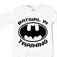 Batgirl In Training Baby Sleeper Boy Girl Unisex 3 colors white baby blue baby pink