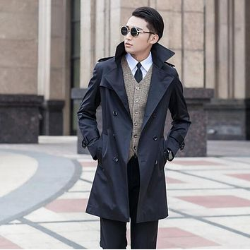 Spring 2017 business slim sexy long trench coat men british fashion double breasted mens trench coat overcoat plus size 8XL 9XL
