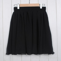 High Waist Pleated Double Layered Sheer Short Chiffon Skirts