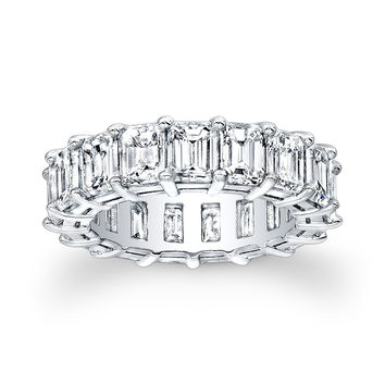 Ladies 18kt white gold Baguette diamond eternity wedding band 9.00 ctw G-VS2 diamond quality