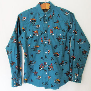 Vintage Wrangler Cowboy Snap Button Down Shirt