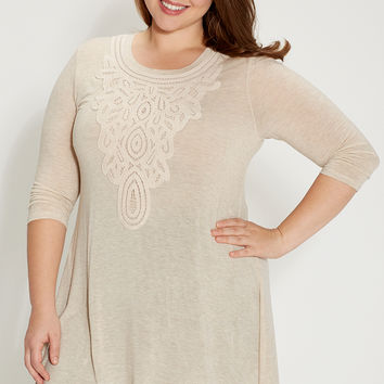 plus size tunic top with crochet and shark bite hem