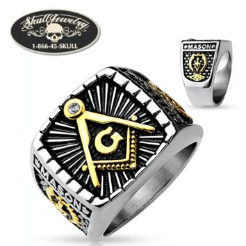 2-Tone Mason Stainless Steel Ring (620)