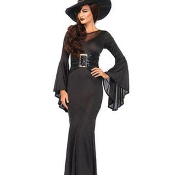 DCCKLP2 2PC.Wickedly Sexy Witch,bell sleeved dress w/buckle accent,hat in BLACK