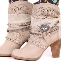 Cream Embellished Ankle Bootie
