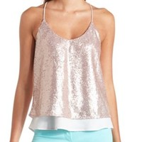 Layered Swing Sequin Tank Top by Charlotte Russe - Blush