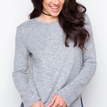 Maggie Sweater Top - Gray